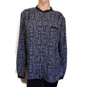 🍁 TRADITION Collarless Button Up Shirt Print Top